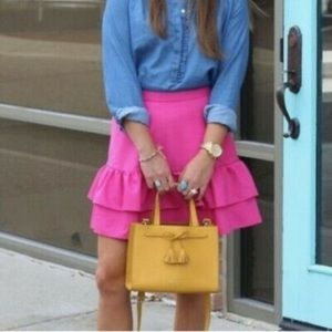 J. CREW Flannel Wool Ruffle Skirt Hot Pink